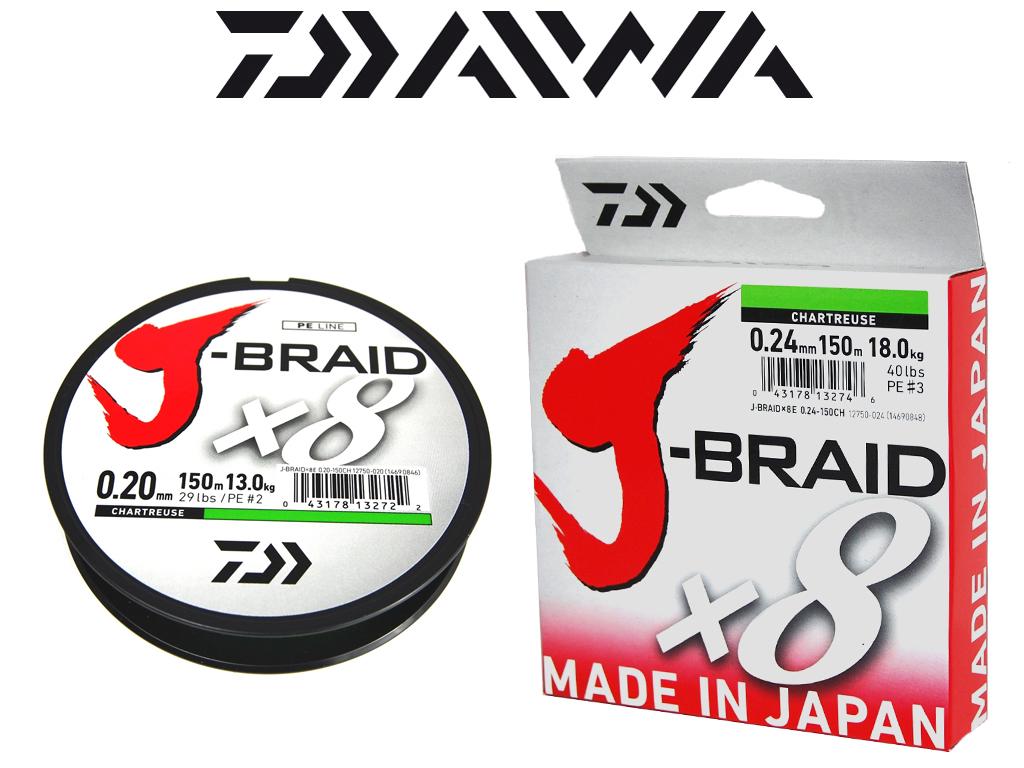 Daiwa J-Braid X 8-0,16  bis 0,24 mm dunkel grün 150 m Spule geflochtene