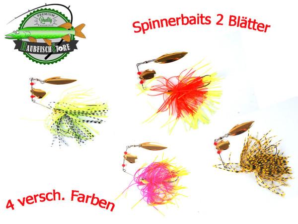 Spinnerbait 15g - 4 versch. Farben - 2 Blätter