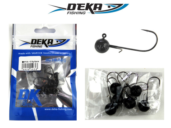 Deka Jigkopf 1/0 schwarz - 3,5 g bis 14 g
